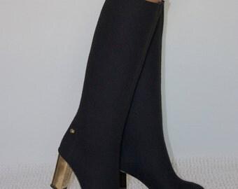 exclusive winter high heel valenki, black felt boots Size 37 / US Size 6