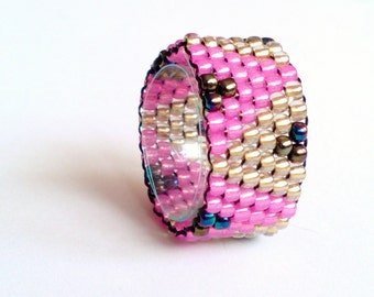 sead bead ring - Beadwoven Ring - Boho Jewelry - Seed Bead - Beadwork - Beaded Ring