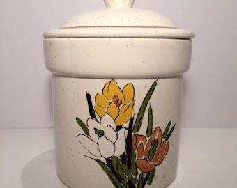 Vintage (1970's) Ceramic Glazed Floral Cookie Jar / Canister w/ Lid