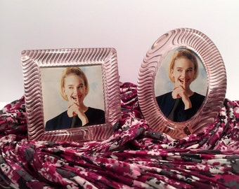 Vintage (1980's) Clear Pink Acrylic Lucite Picture Frame (Set of 2)