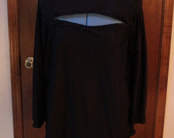 Black Boat Neck 3/4 Sleeve Top