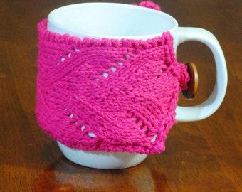 Lace Mug Cozy, Pink, Cotton, Hand Knit, Wood Button