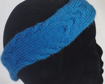Headband Blue Cabled Earwarmer Soft