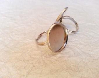 20mm Rhodium, White Gold Plated Adjustable Ring Blanks - 3 Pcs