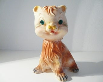 ON SALE ! Vintage rubber squeaky cat toy, 1950s/60s