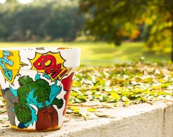 Hand-painted terracotta pot