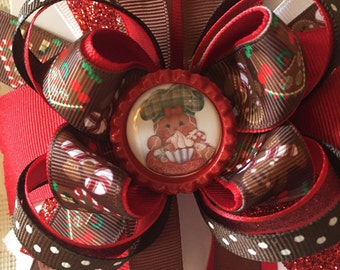 Gingerbreadman /girl boutique stacked hair bow