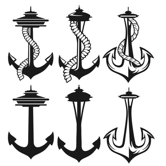 Seattle space needle anchor cuttable design svg dxf eps use for Anchor tattoo seattle