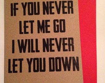 Never Let You Down Gaslight Anthem Lyrics Card