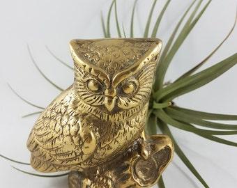 Vintage Brass Owl Figurine, Vintage Owl, Cute Owl, Wise old owl