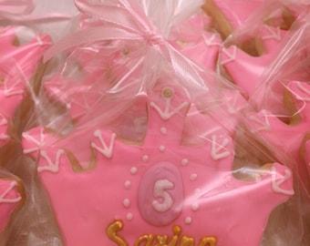 Princess Crown Cookies - 12 Fresh Baked Cookies with Gold Royal Icing- Sugar Cookies
