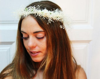 White,Ivory,dry,flower,crown,tiara,headdress,boho,chic,romantic,wedding,bridal,accesorie,romantic,ivory