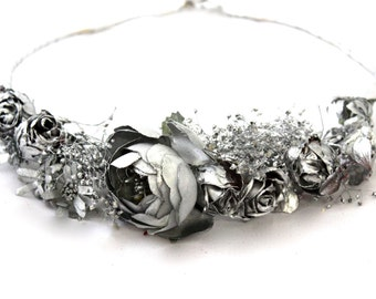 metallic,flower,metal,silver,flower,crown,wreath,halo,tiara,handmade,boho,fashion,metallic,silvered,peony,flower,dried,boho,wild