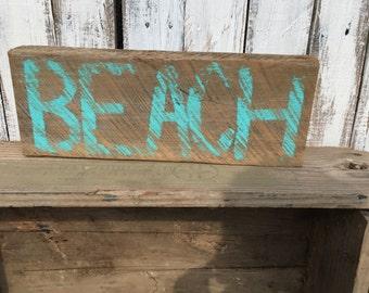 Reclaimed Barnwood Sign - Beach