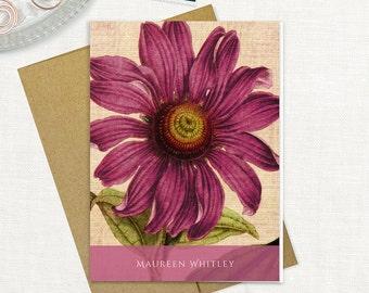 personalized stationery set - ANTIQUE ECHINACEA CONEFLOWER bloom - set of 8 folded note cards - stationary - floral - botanical - flower