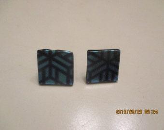 Dichoric glass tile earrings