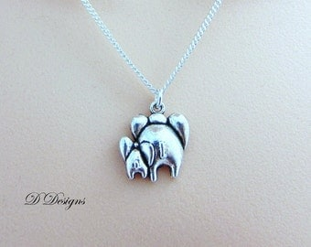 Elephant Necklace, Mum and Baby Elephant Charm Necklace, Silver charm Necklace, Elephant  Pendant,  Silver Necklace, Gifts for her,