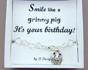 Guinea Pig Bracelet, Birthday Guinea Pig Jewellery, Guinea Pig Gifts, Guinea Pig Charm Bracelet, Guinea Pig Birthday Gifts, Gifts for girls