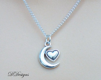 Silver Moon Necklace, Silver charm Necklace, Heart and Moon Charm Necklace, Moon Pendant, Silver Necklace, Gifts for her, Christmas Gift