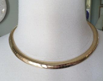Vintage Gold Plate Linked Choker Necklace.