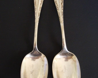 1847 Rogers Bros, Vintage Set of Two Dessert Spoons.