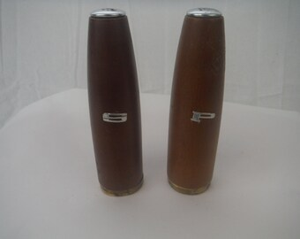 1960's Danish Teak wood salt and pepper shakers-vintage-tall-retro-european