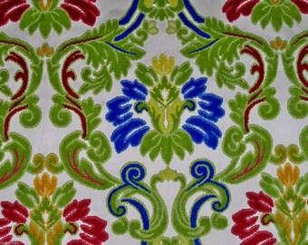 DESIGNER GITANA GYPSY Italian Cut Velvet Damask Fabric 10 Yards Ruby Sapphire Jade