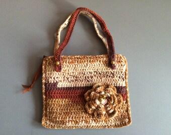 Crochet Hand Bag, Cream Brown Toddler Bag, Gift For Girl, Little Girl Bag, Hand Bag With Flowers, Toddler Purse