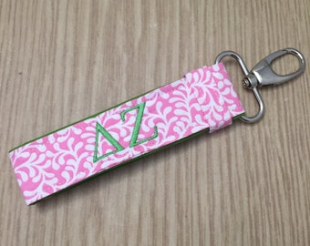 Delta Zeta Keychain - Personalized Delta Zeta Sorority Keychain; Sorority Key Fob; Sorority Big Little; Big little gift