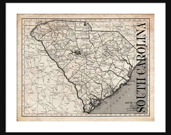 South Carolina Map - Map of South Carolina - Poster - Print - Sepia