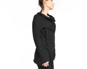 Black cardigan, Black oversized textured jersey cardigan, black cowl cardigan, asymmetrical cardigan, textured cardigan  ANDADA 002
