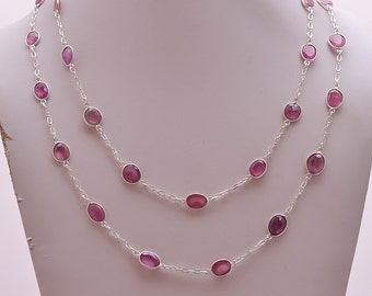 Pink Sapphire Necklace Chain/Silver=92.5/wt.23GM