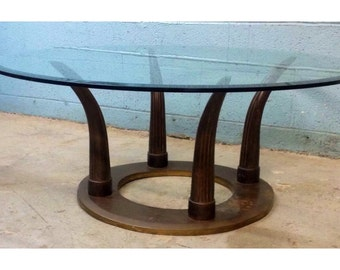 Solid Brass Tusk Coffee Table Mid Century