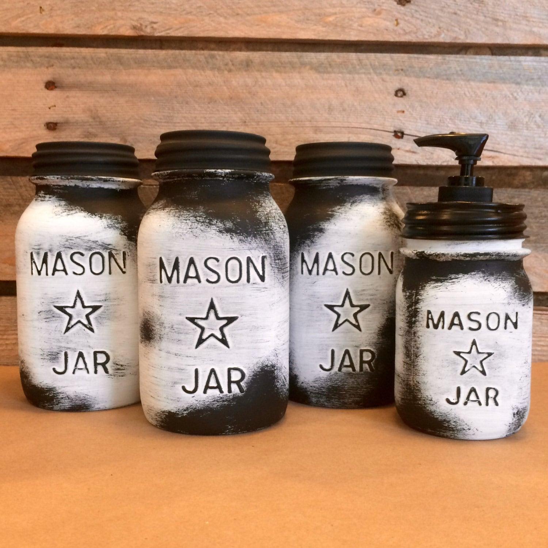 Mason Jar Kitchen: Vintage Mason Jar Canisters Rustic White Mason Star Jars