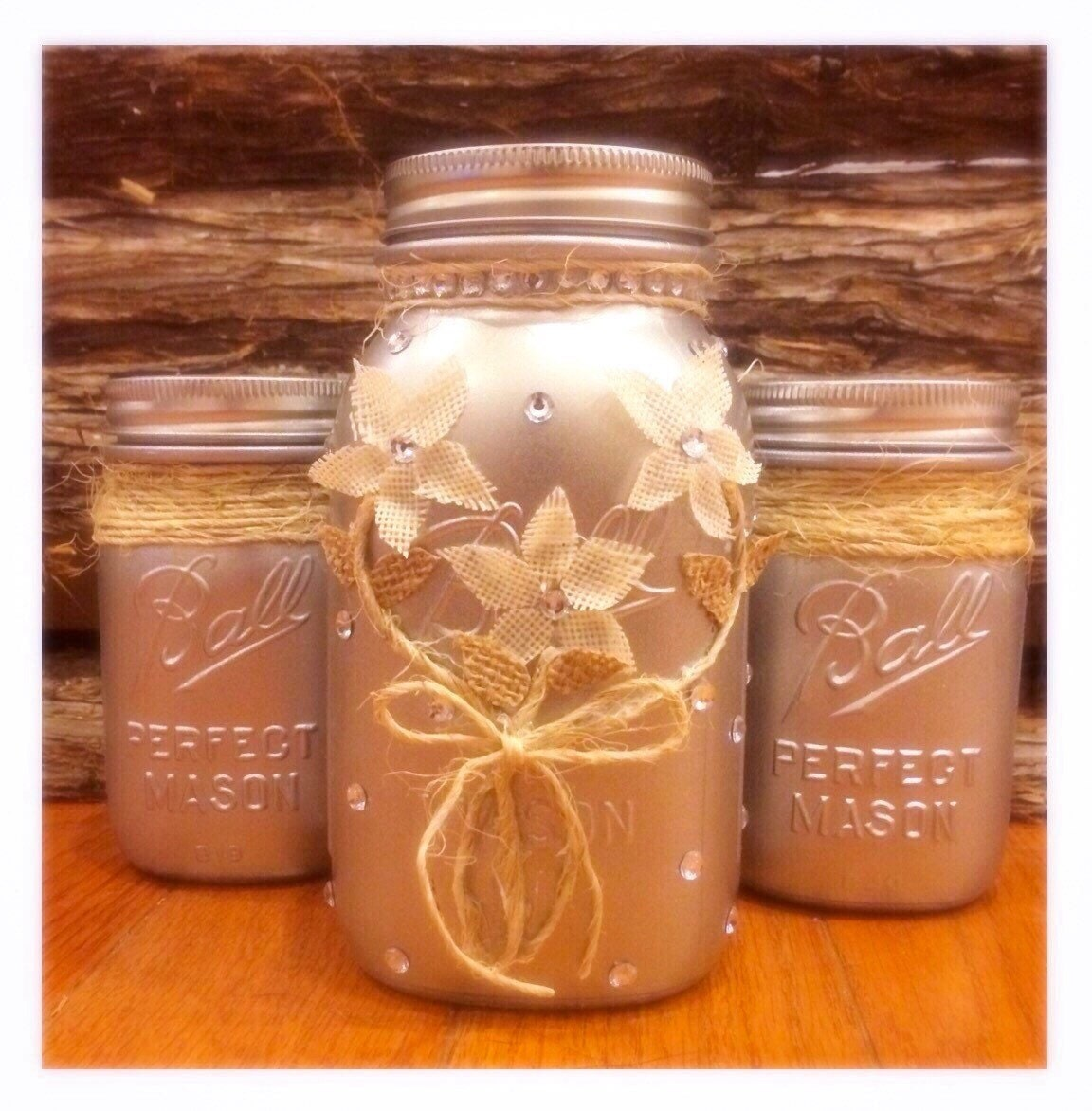 Rustic Jars For Wedding: Silver Mason Jars Rustic Wedding Mason Jar Centerpiece