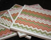 Christmas Chevron Theme Ceramic Drink Coasters - Beautiful Multi Color Holiday Chevron Mix!  Christmas Gift or Stocking Stuffer!