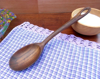 Carved wooden cooking spoon-spatula in walnut,wooden spoon,kitchen utensils,serving spoon,wood spoon,wood utensils,cooking,carving,utensils