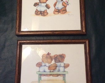 Pair of Teddy Bear Wall Hangings