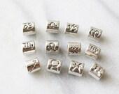 Set of 12 Antique Silver Zodiac Beads for Bracelet Sacred Beads Beading Supply Big Hole  JSY0028
