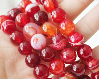 10mm Red Banded Agate Red Beads High Quality Gemstone Jewelry Supply DIY Supply