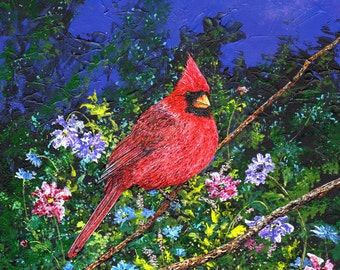 Cardinal Art - Bird Art - Red Cardinal - Flower Painting - Tree Branch Flowers - Floral Art - Night Painting - Matted Print