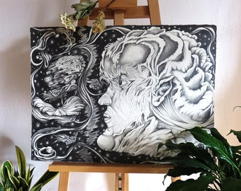 "Surreal ""Elemental Man"" Illustration, Original Wall Art, Surreal Space Illustration"