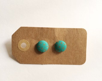 Teal with orange dots Button earrings
