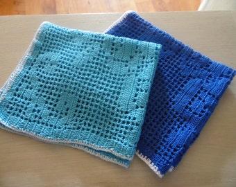 Lot of 2 doilies blue cotton, crochet, handmade, 70