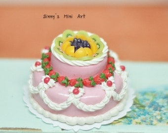 1:12 Dollhouse Miniature Large two-Tiered Fruit Topped Cake/ Miniature wedding cake/ Dollhouse Miniature BD K1997