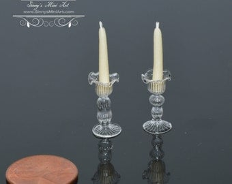 1: 12 Dollhouse Miniature Candles with Glass Candlestick Holders BD H188