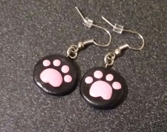 Paw Print Polymer Clay Earrings