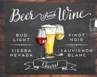 Beer and Wine Bar sign, PRINTABLE Wedding Bar Menu, Wedding Bar sign, Bar Menu sign, Beer sign, Wine sign, Chalkboard sign, Wine menu, Beer