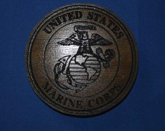 United States Marine Corps Magnet Walnut wood Refrigerator Magnet American Made/ Homemade