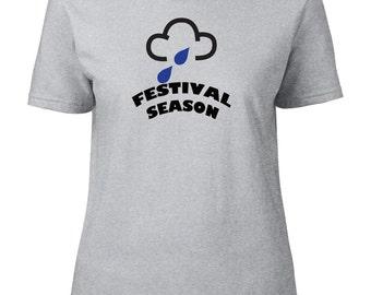 FESTIVAL SEASON- Rain Weather Symbol, Funny Women's T-shirt From FatCuckoo FTS1622